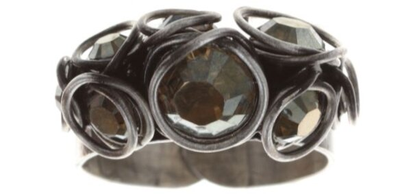 Konplott - Sparkle Twist - Braun, dunkel, Crystal Bronze Shade, Antiksilber, Ring