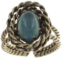 Konplott - Twisted Lady - Blau, Antikmessing, Ring