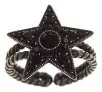 Konplott - Dancing Star - Schwarz, dark antique silver, Ring